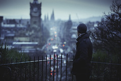 . (Dylan-K) Tags: street city blue man black scotland nikon edinburgh carlton alone bokeh coat united hill kingdom nikkor cinematic 70200mmf28 dylank d700