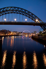 Newcastle (Michelle Bexon) Tags: city uk bridge england night canon newcastle lights evening bridges gateshead hdr 50d