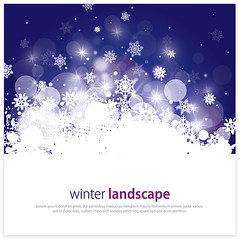 Winter Landscape (DryIcons) Tags: winter night landscape snowflakes background snowing vector