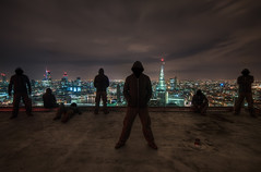 Seven (murphyz) Tags: city longexposure london skyline night hoodie view multiplicity clone shard gherkin urbex rooftopping
