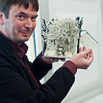 Ian Rankin with book sculpture