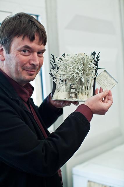 Ian Rankin with book sculpture