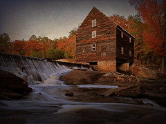Laural Mill (the autumn version) (History Rambler) Tags: old longexposure autumn mill water architecture south northcarolina historic southern weathered antebellum tinroof franklincounty