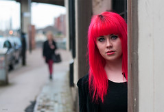 She stood out ... (Charles Hamilton Photography) Tags: red portrait girl 50mm glasgow candid streetportrait howardstreet redheadedgirl nikond90 glasgowstreetportrait