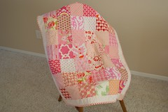 pink baby quilt finished (coco stitch) Tags: pink patchwork ninepatch babyquilt