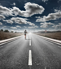 The Road Never Ends (Ben Heine) Tags: road light art texture nature field silhouette sign sport clouds composition trekking landscape photography hope freedom countryside vanishingpoint spain colorful alone loneliness camino blind god shepherd path walk lumire stripes fear faith religion perspective champs happiness follow walker libert fate destiny memory santiagodecompostela future foi photoediting brave nuage paysage espagne pilgrimage marche myth chemin pilgrim caminodesantiago signe dieu courage confidence berger christianism vrijheid aveugle 2011 makadam plerin asphalte wayofstjames plrinage confiance benheine samsungimaging theroadneverends
