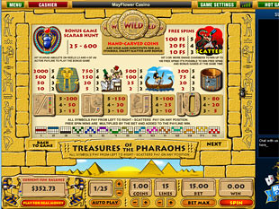 free Treasures of Pharaohs slot game paytable