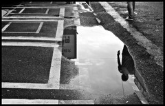 fade away (MdKiStLeR) Tags: street urban bw reflection japan puddle photography tokyo asia mood candid shibuya perspective fadeaway mdkistler