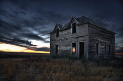 Dawn of the dead..... house (Fistfulofpowder) Tags: wood windows sky abandoned grass clouds sunrise doors edmonton tripod alberta rosalind hdr highdynamicrange 1870mm camrose 9exposures nikond300s