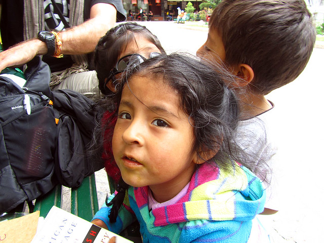 Kids in the main square at Aguas Calientes
