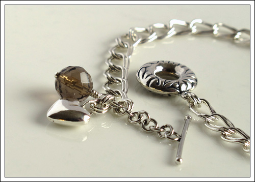 Bracelet with smoky quartz & a heart charm
