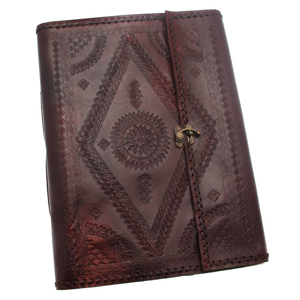 Indra extra large leather photo album embossed stitiched