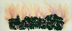 Engulfed, 2011 (Mindy Kober) Tags: trees fire forestfire crayon gouache