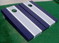 Gray & Navy Blue Matching Stripe Cornhole Boards