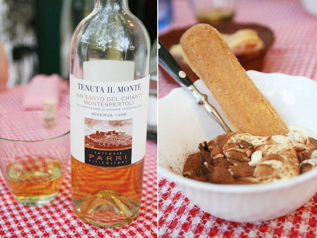 dessert wine and tiramisu