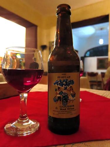 Gouder wine in a beer bottle