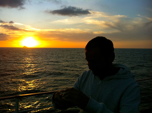 Sean - sunset, ferry to Mokpo