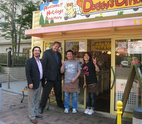 "Doggy's Diner was a participating restaurant in the ""Taste of America"" promotion. Pictured here are Tommy Aoki, senior marketing specialist, Agricultural Trade Office; Fred Klose, executive director, California Ag Export Council; Koichi Yoshiike, owner, Doggy's Diner and a member of his staff."
