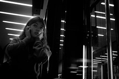 The Call (mRallie) Tags: street woman white black canon de eos photo call geneve gare fear cornavin 550d
