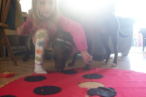 making a ladybug cape (not a dog-friendly activity)