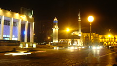 Tirana , Albanian capital by night (Alexanyan) Tags: street city light tower clock night square europe capital mosque balkans albania balkan tirana albanien tirane albanie
