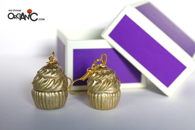 Golden Polymer Clay Cupcake Jewelry
