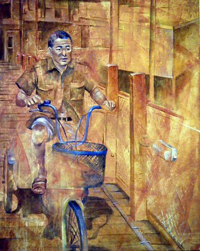 Man On Bike - Oils & Acrylics