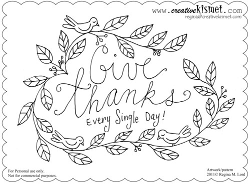 Give Thanks Free Embroidery Pattern Regina Lord Of Creative Kismet Custom Free Embroidery Patterns