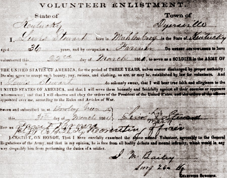 Lewis Stewart Civil War Enlistment
