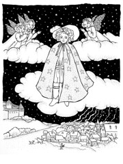 Illustration for Oscar Wilde's The Star Child (k.dmitrijewa) Tags: city bw white black castle illustration fairytale clouds ink paper stars graphic drawing oscarwilde story fantasy angels pennyjey