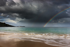 Sun, sea and showers (snowyturner) Tags: light sun beach rain weather clouds coast rainbow cornwall day waves double showers stives squally carbisbay canoneos550d