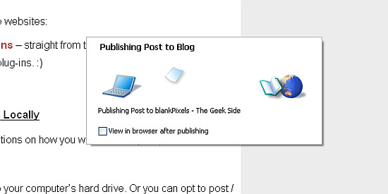 Publishing your post to your blog