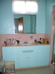 Pink Tiled Bathroom (houseoftomorrow) Tags: pink bathroom bathrooms sink tiles 1950s cabinets