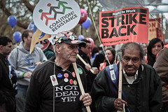 Still Fighting (Sven Loach) Tags: uk november autumn england london public 30 canon demo funny dof britain budget union protest photojournalism tshirt humour cheeky nov30 cap elderly 99 sector marching strike 5d badges cuts protesters n30 placards reportage notdeadyet markii pensioners strikers recession londonist 2011 pensions austerity 30nov