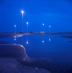 (patrickjoust) Tags: ocean street city blue light usa color reflection 120 6x6 tlr film beach water rain night rollei analog rolleiflex zeiss america dark square lens town us reflex md focus long exposure fuji mechanical empty united parking release tripod north lot patrick twin maryland slide cable chrome shore after medium format states tungsten manual 80 joust eastern fujichrome e6 f28 balanced planar estados 80mm reversal unidos 28f franke t64 autaut heidecke patrickjoust usabook
