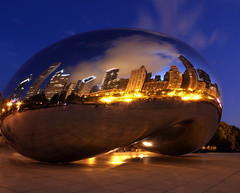 Chicago (Kevin D. Haley) Tags: city longexposure nightphotography sky urban usa chicago reflection skyline night clouds reflections skyscape lights downtown cityscape nightlights skyscrapers nightshot cloudy cityscapes skylines citylights nightshots millenniumpark skyscapes cloudgate partly urbanskyline thebluehour urbannightshots urbanskylines colorsofthenight urbancityscapes urbanskyscapes canon5dmarkii urbanskyscape urbanskylnes kevindhaleyphotography kevindhaley