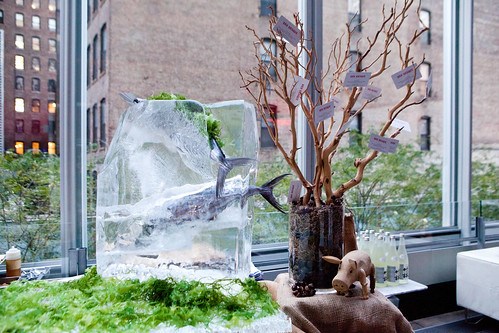 Ice sculpture with a tree at Bar Basque's table