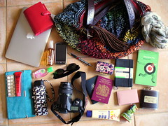 My Travelling Bag Contents (ModCons&Parklives) Tags: camera travel moleskine sunglasses mobile scarf umbrella book currency merlion hipflask filofax sunscreen inmybag passports htc dianevonfurstenberg clubmaster travelwallet macbookair operationpax