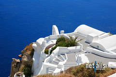 Santorini village (Netfalls) Tags: travel cruise blue sea summer white holiday plant seascape ferry umbrella table island greek volcano hotel boat gate mediterranean ship looking view apartment chairs balcony postcard aegean sunshade explore santorini greece gateway tropical archway welcome vacations scenics