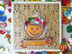 Mini-Card Monday: 10.10.11 (veebhu) Tags: orange black halloween colors circle pumpkin cards handmade trickortreat giveaway punch sequins kraft cardstock minicard patternpaper