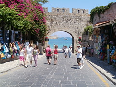 All Rhodes Lead To..... (W F B) Tags: ocean road old city blue sea castle water wall island boat town gate fort olympus tourist medieval greece fortification rodos rhodes rhodos