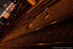 Rails at dawn (Miriam Daepp) Tags: barcelona city urban london reflections germany switzerland losangeles citylife streetphotography istanbul lausanne venicebeach bern duesseldorf cityscenes gehryhouse gehryarchitecht