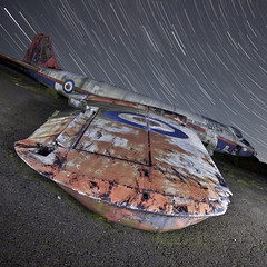 Canberra WT308 ([Nocturne]) Tags: nightphotography abandoned graveyard night plane photo rust crash surreal canberra wreck nocturne raf startrail noctography wt308 wwwnoctographycouk