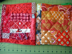 Red and orange blocks/pages - fabric baby book