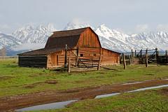Mormon Row (bhophotos) Tags: travel usa snow mountains nature clouds barn landscape geotagged nikon wyoming tetons jacksonhole grandtetonnationalpark gtnp mormonrow antelopeflats moultonbarn d700 70200mmf28gvrii bruceoakley
