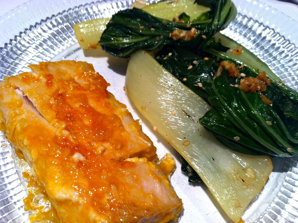little red potatoes. mango coconut mahi-mahi with spicy bok choy ...