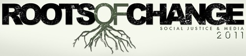 the Roots of Change Banner, which features the title of the conference with green roots flowing out of the 'OF'
