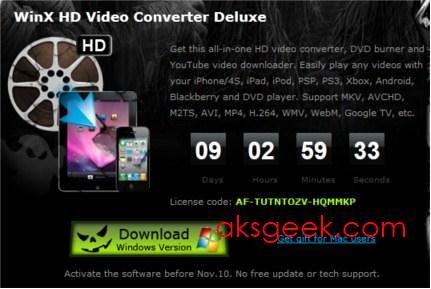 WinX HD VideoConvertor Deluxe License code