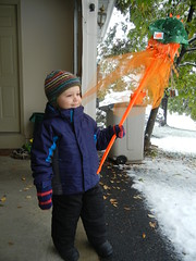 Halloween decorations in the snow