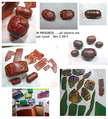 This Week On the Worktable (view large) (pati b) Tags: bronze gold beads mosaic jewelry polymerclay swirl bangle worksinprogress focal polyclay mokumegane marbelized patibannister patib